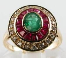 9CT 9K GOLD DECO  COLUMBIA EMERALD RUBY DIAMOND TARGET ART DECO INS RING