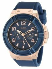 GUESS Men's U0247G3 Silicone Casual Watch, Color: Rose Gold-Tone/Rigor Blue