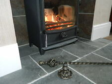 Hand Forged Wrought Iron Fire Poker with Stand Open Fire Log Contemporary Style