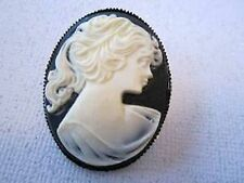 Cameo vintage black backround face lady portrait gold tone pin brooch