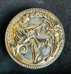 Ex rare antique SCARAMOUCHE  brass Mirror-back Button, Ca.1990s/early 1900s