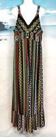 T TAHARI   Size L   BOHO 'Tile Stripe Print' MAXI DRESS  Knit + Ruffle  NWT $138
