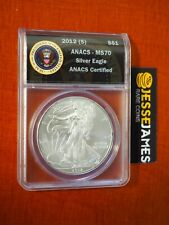 2012 (S) $1 AMERICAN SILVER EAGLE ANACS MS70 (STRUCK AT THE SAN FRANCISCO MINT)