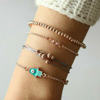 4pcs Bohemian Women Crystal Beads Evil Eye Rope Multilayer Bangles Bracelet