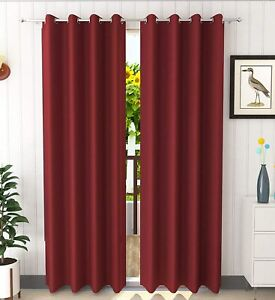 New 2 Piece Eyelet Door Curtain Set - 7 ft