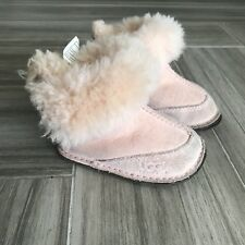 Ugg Baby Girl Boots Size Small Pink Warm Sherpa Lined Leather Comfy Fall Winter