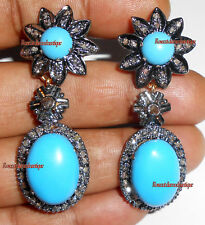 Silver Turquoise Dangle Attractive Earrings 1.46ct Real Antique Rose Cut Diamond