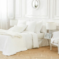 Zara Home White Wavy Embroidered Percale Cotton King Size Duvet Cover 240x220cm