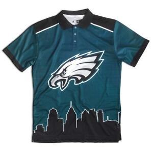 Philadelphia Eagles NFL Boys Thematic Skyline Polo Shirt Size Medium (10/12) NWT