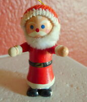 Santa Claus Christmas Ornament Wooden 1984 vintage Knit Hat