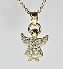 REAL 14kt Gold Diamond Angel Pendant  Fine Quality Yellow Gold Pave' Pendant