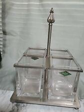 Godinger Metal & Glass Flatware Caddy Brushed Nickel