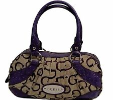 NEW Guess Harmony Ostrich Satchel Bag Handbag, Purple