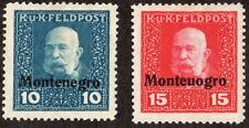 Austria Montenegro feldpost overprints error Monteuogro 1n3 1n4 10 15 heller