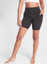 "ATHLETA Salutation Stash Pocket II 5"" Short M Black | SOFT Yoga Workout Shorts"