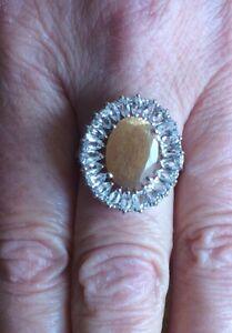 New! Shinyanga Sunstone & White Topaz Sterling Silver Ring 7.21cts