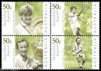 2003 Australian Decimal Stamps - Tennis Legends  -MNH Block of 4