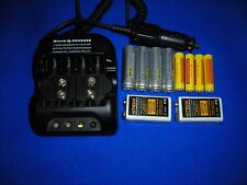 Hitech Smart 12v Car Aa/Aaa/9V Charger +10 Rechargable batteries.Up to 55%Off