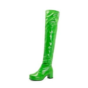 Women's Over The Knee Boots Block Mid Heels Back Zipper Patent Leather Shoes
