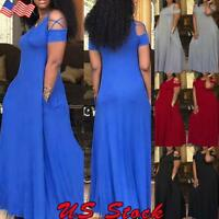 Plus Size Womens Casual Maxi Dress Ladies Cold Shoulder Party Long Dresses US