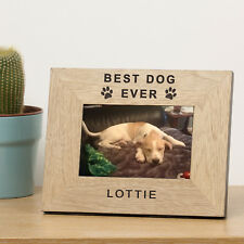 Personalised Laser Engraved Wood Photo Frame Pets Remembrance Gift Portrait Best Dog Ever 7x5