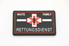 Klettpatch Rubberpatch ca. 8x5cm thin white line, Rettungsdienst white Family