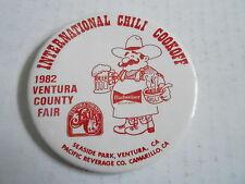 VINTAGE PROMO PINBACK BUTTON #111-003 - CHILI COOK OFF -1982 VENTURA COUNTY FAIR