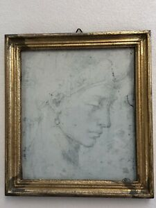 Rare Bachiacca Art Print Of 'Head Of Woman' G. B. Florence Made In Italy