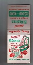 Barney's El Capitan Lodge Casino Unused Front Striker Matchbook Hawthorne Nevada