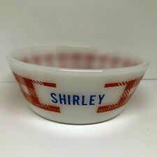Vtg Milk Glass Cereal Bowl SHIRLEY Red Checked Gingham Plaid Westfield Federal