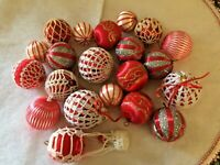 20  Ornaments A Mixture of Pyramid,Glass Crocheted Ornaments Glittered & Striped