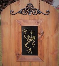 Tree Frog Steel Insert Window for Wood Gate, Frog Pattern Gate, Toad Decoration
