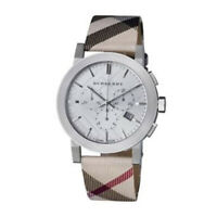 New Burberry BU9357 Nova Check Chronograph Silver Dial Leather Strap Men's Watch