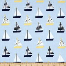 Fabric Nautical Marine Saliboats Dots & Stripe Blue Cotton by the 1/4 yard