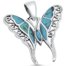 Turquiose Filigree Butterfly .925 Sterling Silver Pendant