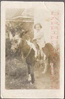Vintage Souvenir Photo Cute Girl on Miniature Pony Horse 707537