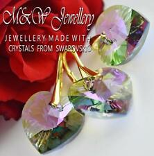 Gold Plated 925 Silver Set Earrings/Pendant Crystals From Swarovski® HEART 18mm