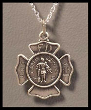 "Sterling Silver Saint Florian Badge Medal Pendant - Saint Of Firemen w/18"" Chain"