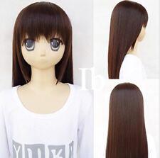302 IB Dark Brown Long Cosplay Party Fashion Wig 70cm free wig cap
