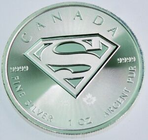 2016 - Superman Coin BU $5 Coin Canada Maple Leaf Privy - 1 oz .999 Fine Silver