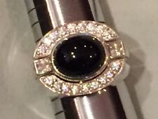 Amazing Judith Ripka Black Onyx, White Topaz, & Diamonique 3pc Ring Set Sz 9