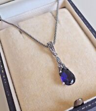 Sterling Silver Sapphire and Marcasite Pendant Necklace