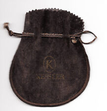 suede~jewelry drawstring pouch~pouch only Vtg~John W. Kessler~brown faux