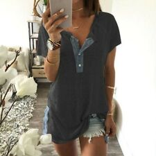 Summer Women Short Sleeve O Neck Loose Casual Button Blouse T Shirt Tank Tops CA