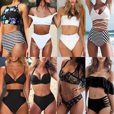 Womens High Waisted Swimwear Push up Bikini Swimsuit two pieces Beach Bathing