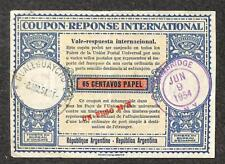 IRC INTERNATIONAL REPLY COUPON ARGENTINA 65 CENTAVOS PAPEL UPRATED 1954 NEW YORK