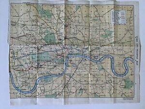 LONDON TUBE and TRAMWAY Map, 1924 Original Vintage Map Bartholomew UNDERGROUND