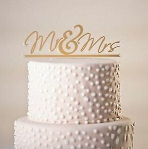 MR & MRS GOLD SCRIPT ACRYLIC CAKE TOPPER WEDDING ENGAGEMENT PARTY TOP DECORATION