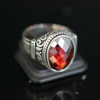 925 Sterling Silver Handmade Authentic Turkish Ruby Men's Ring Size 7-13