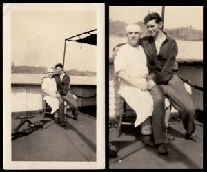 HOT SAILOR LOVE SHIP'S COOK & PRIVATE GAY LAP LOVER MAN ~ 1920s VINTAGE PHOTO